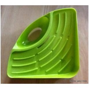 Lentynėlė - kampas kriauklės reikmenims, žalia