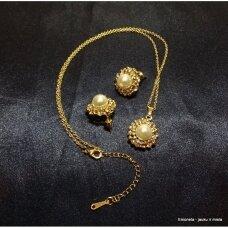 Rinkinys PEARL, kaklo vėrinys ir auskarai, perlai, aukso spalva