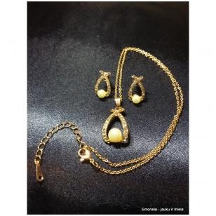 Rinkinys PASAGĖLĖ, kaklo vėrinys ir auskarai, aukso spalva