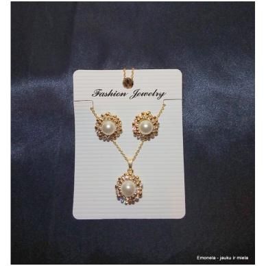 Rinkinys PEARL, kaklo vėrinys ir auskarai, perlai, aukso spalva 5