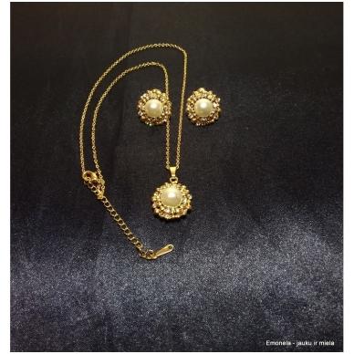 Rinkinys PEARL, kaklo vėrinys ir auskarai, perlai, aukso spalva 3
