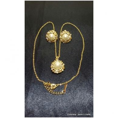 Rinkinys PEARL, kaklo vėrinys ir auskarai, perlai, aukso spalva 4