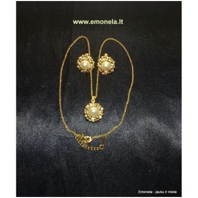 Rinkinys PEARL, kaklo vėrinys ir auskarai, perlai, aukso spalva 2