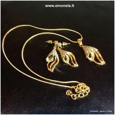 Rinkinys SŪKURYS, kaklo vėrinys ir auskarai, aukso spalva 2
