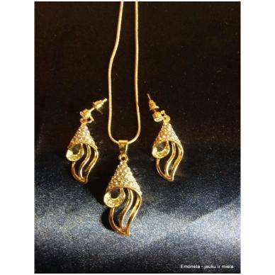 Rinkinys SŪKURYS, kaklo vėrinys ir auskarai, aukso spalva 4