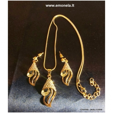 Rinkinys SŪKURYS, kaklo vėrinys ir auskarai, aukso spalva